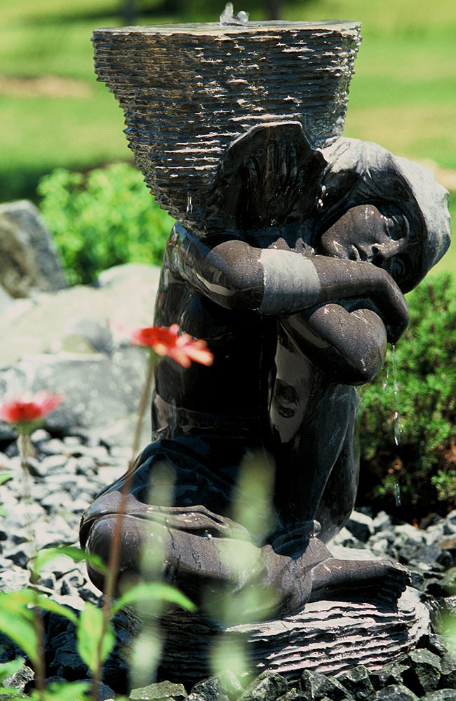 water features - fountains, natural looking streams and ponds - focal point landscapes with soothing movement and sound