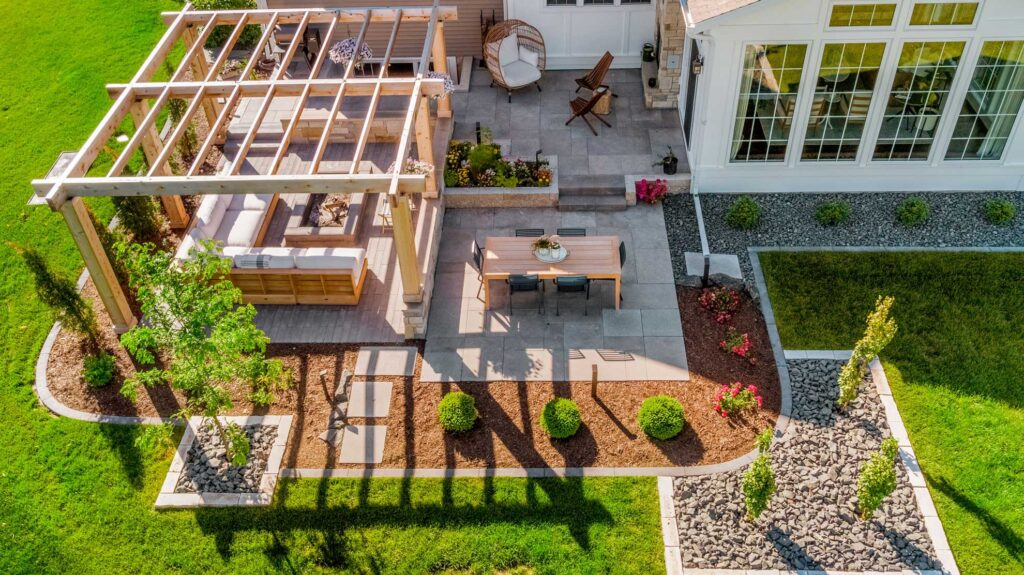 Pergola patio with fire pit Fargo, ND